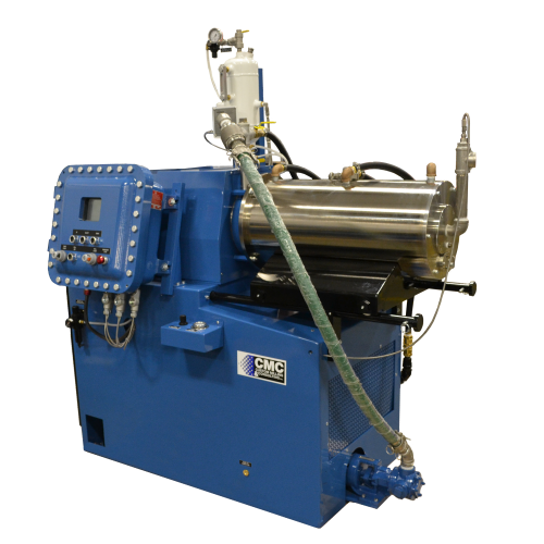 Horizontal media mill, the Supermill Plus, processing chemical for fine particle size reduction and dispersions in liquid.